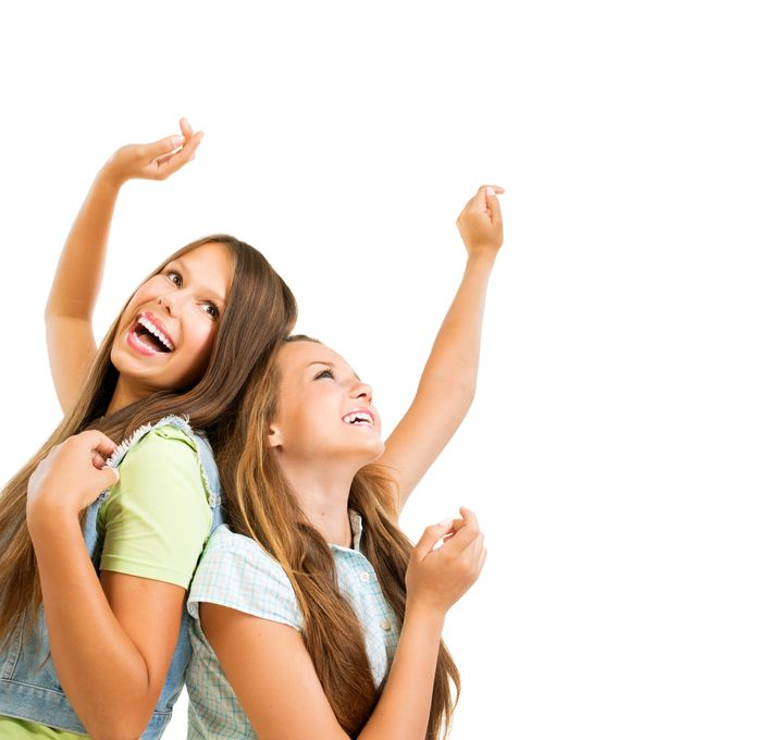 21749033 - happy teenage girls dancing beauty teenagers having fun